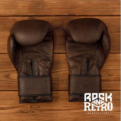 Тренировочные боксерские перчатки, тёмно-коричневая кожа